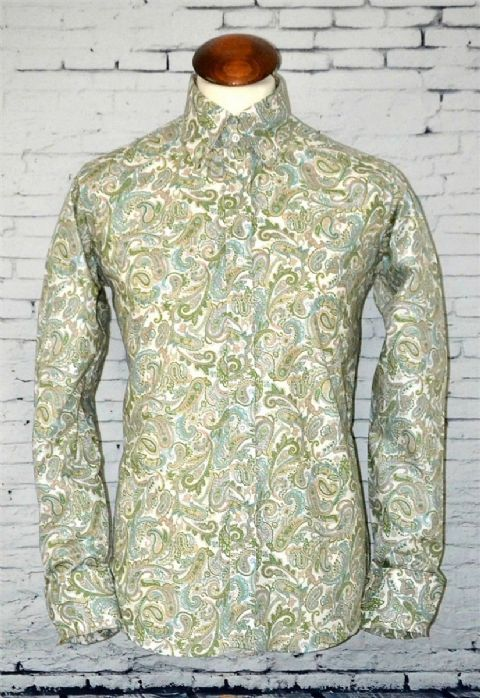 """Colin"" Green Paisley Long Sleeve Button Down Shirt"